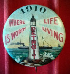 RARE Vintage Whitehead Hoag 1910 Detroit Michigan Pin w Great Lake |