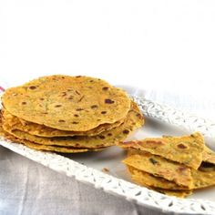 Masala Khakhra, a crispy, spicy cracker. Vegan.