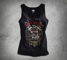 Women's Freedom Isn't Quiet Tank  Declare the truth every time you pull on the Freedom Isn't Quiet Tank. The moody print graphics on this women's sleeveless top is a billboard for your commitment to live free and ride free.  Part Number 96196-15VW Available in store now Harley Davidson San Jose 1551 Parkmoor Ave 95128 •	100% cotton jersey  •	Distressed printed graphics