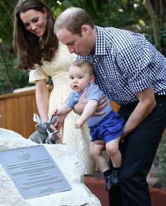 At the ceremony today, George grabbed a bilby statue. The enclosure was officially open! | Prince George Met George The Bilby And It Was Love At First Sight