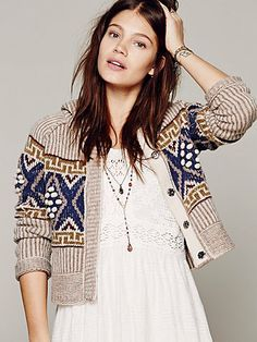 Free People Shrunken Pattern Snap Hoodie
