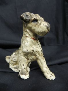Antique Vintage Cast Iron Dog Still Bank Jack Russell Terrier Metal Animal WOW
