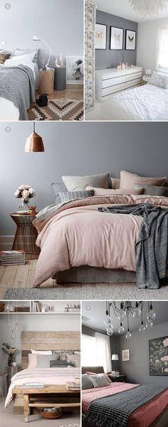 2018 bedroom inspo grey blush pink and white colour palette
