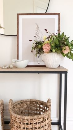 Style your console table for the season with layered frames, fresh florals and wicker baskets. Casual Mom Style, Entryway Console Table, Wicker Baskets, Florals, Entrance, Frames, Rose, Blog, Furniture