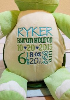Personalized baby gift monogrammed turtle birth announcement by monogrammed stuffed animal turtle personalized baby gift monogrammed turtle custom birth announcement negle Image collections