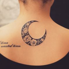 Floral crescent moon by Tattooist Grain