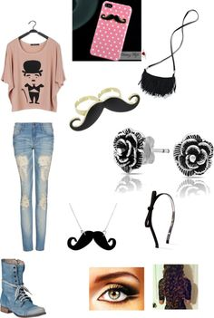 """""""Mustache Day!!!"""" by ronimak ❤ liked on Polyvore"""