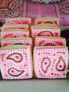 Bandana cookies at a pink cowgirl birthday party! See more party ideas at CatchMyParty.com!