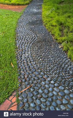 BOTANIC GARDENS SINGAPORE Chinese reflexology foot pebble path stone mosaic Stock Photo