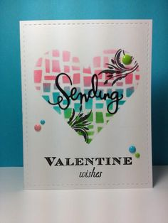 """Mosaic Heart stencil (through a smaller stencil) and """"sending"""" die: Simon Says Stamp, #SSSFAVE, v-day, by beesmom - Cards and Paper Crafts at Splitcoaststampers"""