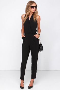 black jumpsuit and I love the hair