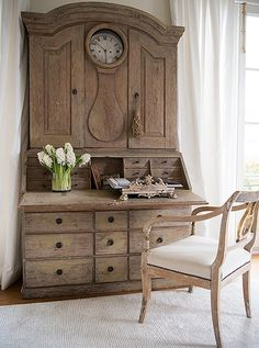 """Tara keeps her stationery inside this 18th-century Swedish secretary. She likes to write her notes in the guest room—and loves that, once she closes up the desk, everything's hidden: """"I'm big on storage and love anything with a drawer. It means you can tidy up quickly."""""""