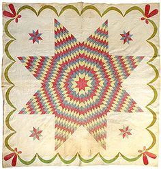 Star of Bethlehem Quilt.very popular in the and the calicoes used were made about that time. Lone Star Quilt, Star Quilts, Quilt Blocks, Antique Quilts, Vintage Quilts, Benton County, Star Of Bethlehem, Oregon Usa, Museum Collection