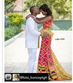 New latest african fashion look . Ghana Dresses, Kente Dress, African Fashion Designers, African Men Fashion, Ghana Fashion, Africa Fashion, Women's Fashion, Fashion Outfits, African Love