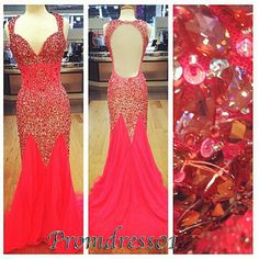 2015 gorgeous rhinestones beaded red chiffon top detailed backless tight long prom dress for teens, ball gown, evening dress, plus size gowns #promdress #coniefox #2016prom