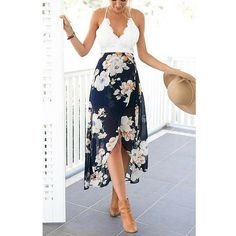 Lace Top Floral Maxi Dress. Love everything except the spaghetti straps.