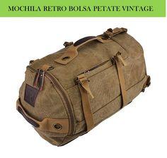 Bolso mochila bolsa de viaje tipo petate retro diseño original retro estilo vintage para hombre.