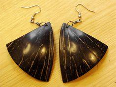 Coconut shell earrings, handmade gift