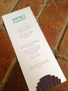 Reception Menu Card Printable Art Deco Wedding by FiraPrintables