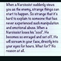 Narcissistic rage is scary!!, it is debilitating and horrific leaving us scratching our head as to 'What did I do?' Truth is you don't have to DO anything to receive Narcissistic rage!! Find out other traits and behaviour of a narcissist in this blog ..https://www.melanietoniaevans.com/articles/narcissist-behaviours.htm #narcissist #narcissisticrage #angry #recovery #abuse