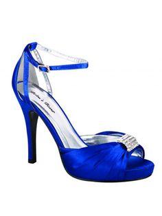 Rhinestone Accented Royal Blue Heels