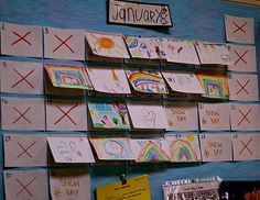 """""""Reggio Inspired"""" Child Made Calendar --- use index cards to make the calendar.  We """"x""""-out the days we are not in school.  On school days, the special helper draws a picture for the day.  We staple that on top of the index card already on the board.  At the end of the day, the special helper recalls three things about the day and I record it on index card under the picture.  (You can see how it makes a flap above)  We can review what we did that week, yesterday, and so forth."""