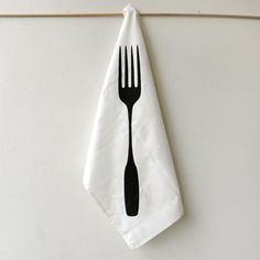 Giant fork tea towel $18