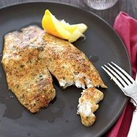 Rachael Rays Parmesan Crusted Tilapia - 5 ingredients: 3/4 cup grated Parmesan, 2 tsp paprika, 1 Tbsp chopped parsley, 4 tilapia fillets, 1 lemon. Prep time 10 min, cook time 10 min. Could probably use catfish as a sub.