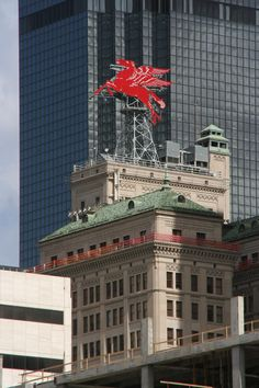 Pegasus, the flying red horse atop the Magnolia Building, Dallas - My mom worked there.