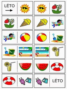 Pro Štípu: Letni domino - vesele prazdniny prejeme :-) Summer Activities For Kids, Crafts For Kids, Month Weather, Kindergarten, Teaching Aids, Pictogram, Social Work, Holidays And Events, Montessori