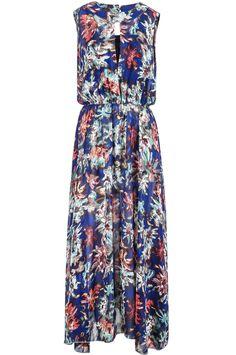 Blue Sleeveless Vintage Floral Pleated Dress - Sheinside.com