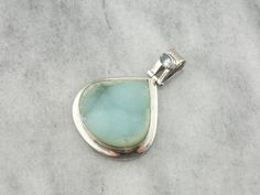 Druzy Quartz and Blue Topaz Sterling Silver Pendant by MSJewelers. $115. 50mm.