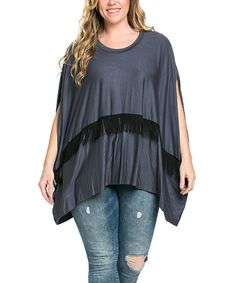 Another great find on #zulily! Charcoal Fringe-Accent Top - Plus #zulilyfinds