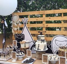 WEBSTA @ thepartybebe - We LOVE this Tribal Teepee dessert table by our friends in Dubai @meandriley_events.❤️ The party was to celebrate a joint 1st 3rd birthday and the birthday boys treated their friends to a dessert station complete with a @blossomsweetsuae teepee birthday cake, Oreo pops, Oreo dessert cups, arrow macarons, teepee cookies, mini cupcakes, corn teepees and more. More pics to follow. Xx