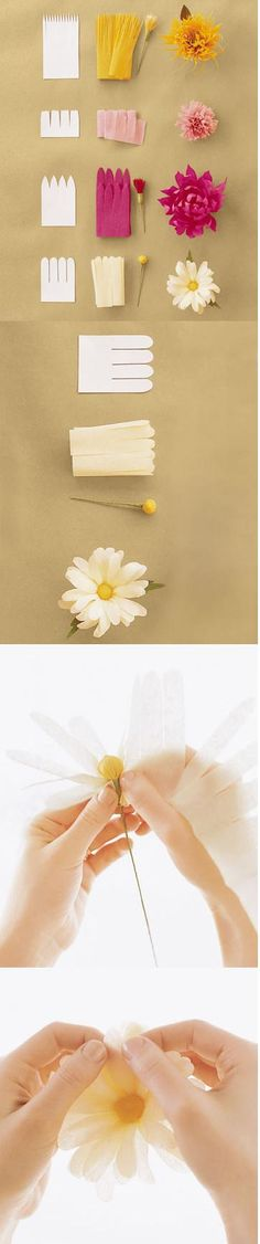 How to Make Crepe-Paper Flowers, DIY and Crafts, How to make these different kinds of flowers~ Paper~. How To Make Paper Flowers, Crepe Paper Flowers, Fabric Flowers, Tissue Flowers, Flower Paper, Paper Roses, Making Tissue Paper Flowers, Paper Flower Garlands, Paper Streamers