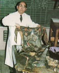 "Photograph of Dr. Katsunari Fukushi, reproduced from the article ""Remains to be Seen"", in Tattoo Time Volume 4: Life & Death Tattoos, by Don Ed Hardy (1987)."