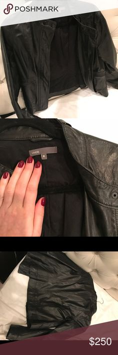 Vince leather jacket Beautiful black leather Vince jacket in size M. I've only worn a handful of time and the jacket is too big on me -- wish I could keep it! 100% Supple leather, sleek black buttons and moto style make this a great layering piece. Vince Jackets & Coats