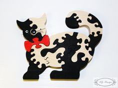 Puzzle en bois, chat, noir&blanc, jouet enfant : Jeux, jouets par az-design