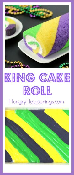 Break tradition this year by making and serving a festive green, gold and purple King Cake Roll for Mardi Gras. This fun dessert is filled with cream cheese fluff and each slice reveals colorful stripes of cake.