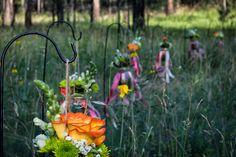Wedding photography, wedding flowers, roses, mason jar, country, grass