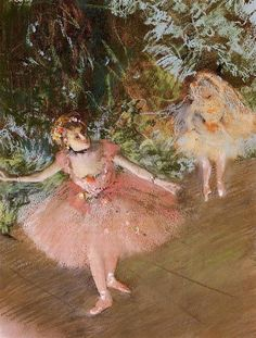 Dancer on Stage, 1880 by Edgar Degas. Impressionism. genre painting. Private Collection