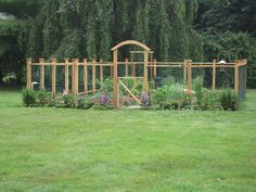 Nice idea for a garden fence.  If you build it to be over 6 feet high, it might keep the deer out.