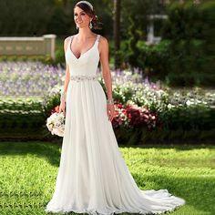 In Stock Wedding Dresses V-neck Sleeveless Long Beaded Chiffon Bridal Gown