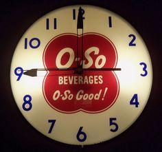 O-So Good Beverages Antique Clock  (Vintage Lighted Advertising Clocks)