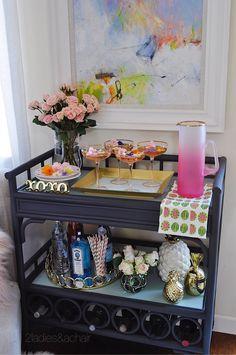 Spring Cocktails for Easy Entertaining — 2 Ladies & A Chair Decor, Furniture Design Modern, Bar Decor, Spring Entertaining, Bar Cart Decor, Home Decor, Preppy Bar, Table Arrangements, Home Bar Decor