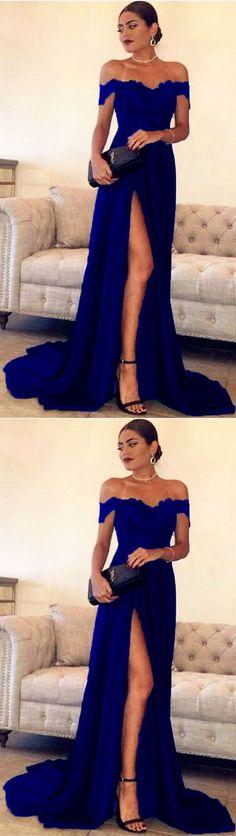 Royal Blue lace off the shoulder long prom satin dress leg split evening gowns