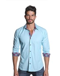 Jared Lang Mens Shirt in Turquoise and Navy Plaid