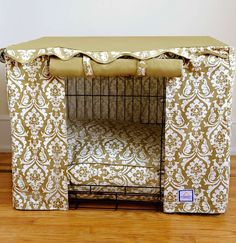 Transform an ordinary metal crate into a den of luxury with this Damask Crate Cover & Bed.