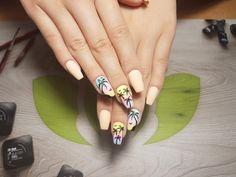 Summer ballerina nails -palmtrees - matte