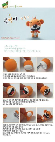 Great face idea for amigurumi - bear DIY polymer clay